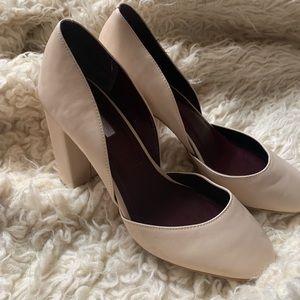 Chunky closed-toed heels